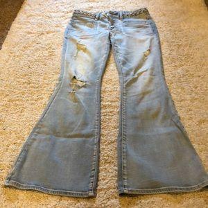 Light wash flare pants